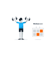 Sport gym workout session person with dumbbells vector image vector image