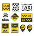 taxi icons set service signs vector image vector image