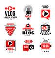 vlog and blog original logo design set video vector image vector image