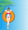 Woman in bikini relaxing on inflatable mattress in vector image vector image