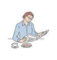 woman reading newspaper article vector image vector image