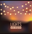 set of glowing string lights on abstract evening vector image