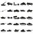 set army transport black silhouette icons vector image