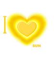 I love Sun Symbol of heart of the Sun fo vector image