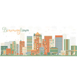 Abstract Birmingham Skyline with Color Buildings vector image vector image