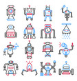 android robots set isolated on white machines vector image vector image