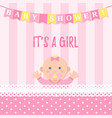 bashower girl card pink banner with kid vector image vector image