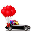 black cartoon cabriolet car with heap of gifts vector image