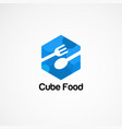 blue cube food logo concepticon element and vector image vector image