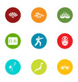 body energy icons set flat style vector image