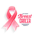 breast cancer awareness month poster design vector image