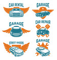 car repair garage auto service emblems design vector image