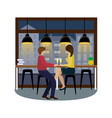 couple in love with champagne at the bar counter vector image vector image