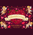 cupds and rose flower heart valentines day party vector image vector image