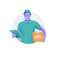 delivery service smiling delivery man or courier vector image vector image