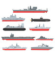 different types of naval combat ships set vector image