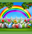easter eggs and colorful on the garden vector image vector image