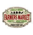 farmers market vintage rusty metal sign vector image vector image