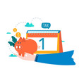 financial calendar financial planning vector image vector image