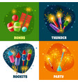firework crackers rockets 4 icons square vector image vector image