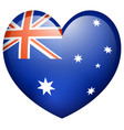 flag on australia in heart shape vector image vector image