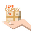 free delivery symbol - parcel in hand vector image vector image