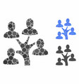 Genealogy tree mosaic icon circles