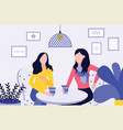 girlfriends characters meeting in cafe or home vector image