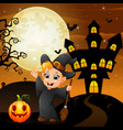 halloween background with happy boy witch holding vector image