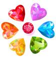 heart cut gemstone shape set isolated on white vector image