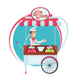ice cream salesman in cart kiosk character vector image
