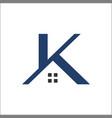 k letter real estate roof construction logo vector image vector image