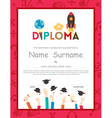 Kids Diploma certificate background Template vector image vector image
