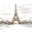 landscape with eiffel tower in brown colors on vector image vector image