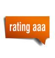 rating aaa orange 3d speech bubble vector image vector image