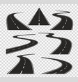 roads in perspective bended pathway road curved vector image vector image