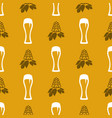 seamless pattern with beer glasses and hops vector image
