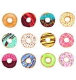 set cartoon realistic donuts cakes isolated on vector image