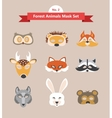 set of animal masks set 2 forest animals vector image vector image