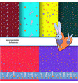 set of patterns with gray rabbits on colorful vector image