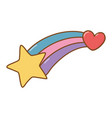 shooting star and heart vector image vector image