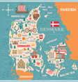 stylized map denmark vector image