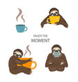 the story of one sloth morning cofee funny vector image vector image