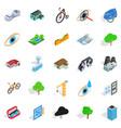 Urban structure icons set isometric style