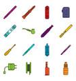 vape icons doodle set vector image