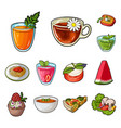 vegetarian dish cartoon icons in set collection vector image