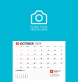 wall calendar planner for 2019 year october print vector image