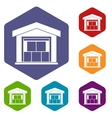 Warehouse building icons set vector image vector image