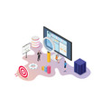 website data analysis tools with team people vector image vector image