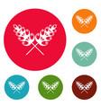 wheat icons circle set vector image